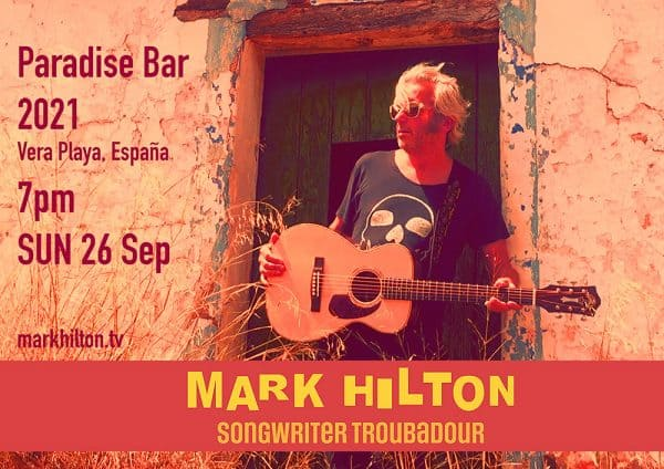 SOLO @ Paradise Bar 2021, Vera Playa, España, 6pm SAT 9 Sep.
